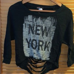 Black Distressed NY Sweater